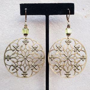 Anthropologie Boho Mandala Chandelier Earrings